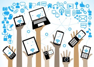 hands of the people hold the phone, laptop, tablet and surrounde