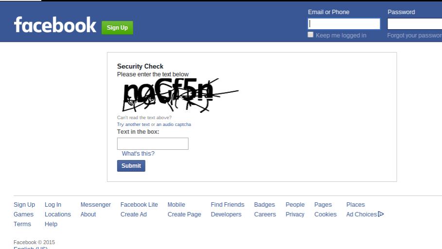 Facebook Captcha